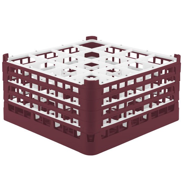"Vollrath 52770 Signature Full-Size Burgundy 16-Compartment 9 1/16"" XX-Tall Plus Glass Rack Main Image 1"