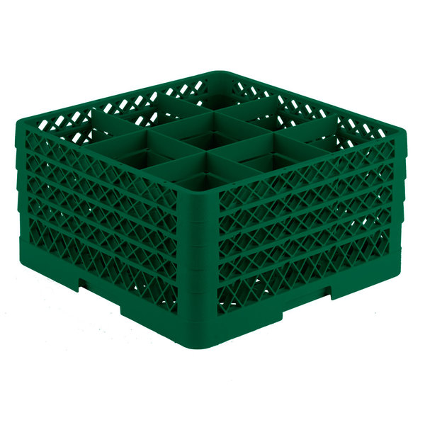 "Vollrath TR10FFFF Traex® Full-Size Green 9-Compartment 9 7/16"" Glass Rack"