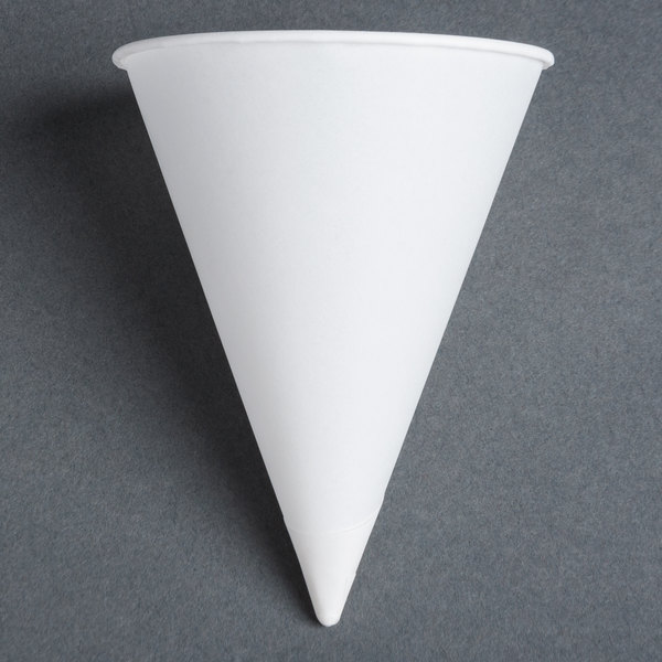 Dart Solo 4R-2050 Bare Eco-Forward 4 oz. White Rolled Rim Paper Cone Cup with Chipboard Box Packaging - 5000 / Case