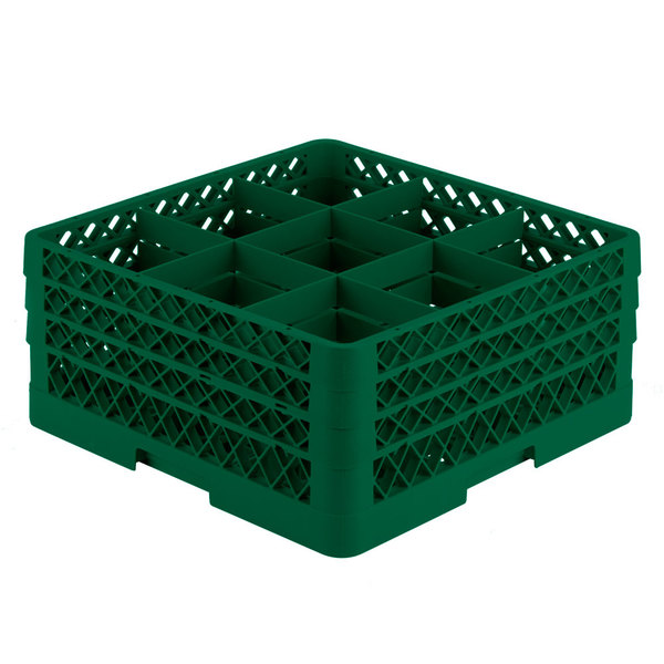 """Vollrath TR10FFA Traex® Full-Size Green 9-Compartment 7 7/8"""" Glass Rack with Open Rack Extender On Top"""