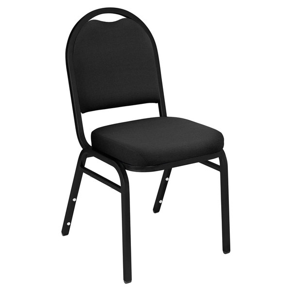 "Multiples of 40 Chairs National Public Seating 9260-BT Dome Style Stack Chair with 2"" Padded Seat, Black Sandtex Frame, and Ebony Black Fabric Upholstery"