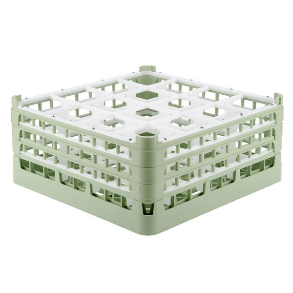 "Vollrath 52769 Signature Full-Size Light Green 16-Compartment 7 11/16"" X-Tall Plus Glass Rack Main Image 1"