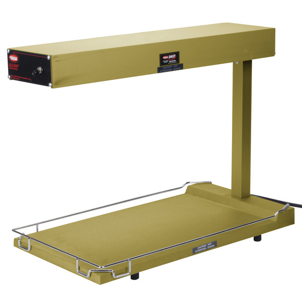 "Hatco GRFFB Glo-Ray Gleaming Gold 12 3/8"" x 24"" Portable Food Warmer with Heated Base - 120V, 750W"