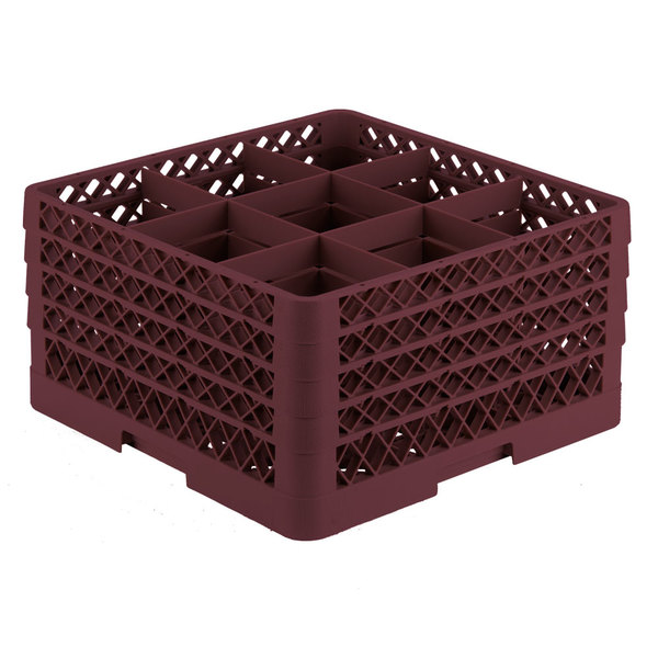"Vollrath TR10FFFA Traex® Full-Size Burgundy 9-Compartment 9 7/16"" Glass Rack with Open Rack Extender On Top Main Image 1"