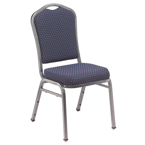 "Multiples of 2 Chairs National Public Seating 9364-SV Silhouette Style Stack Chair with 2"" Padded Seat, Silvervein Metal Frame, and Diamond Navy Fabric Upholstery"
