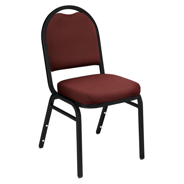 "Multiples of 40 Chairs National Public Seating 9258-BT Dome Style Stack Chair with 2"" Padded Seat, Black Sandtex Metal Frame, and Rich Maroon Fabric Upholstery"
