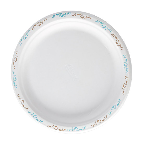 Huhtamaki Chinet 22519 10 1/2 inch Molded Fiber Round Plate with Vines Design - 125/Pack