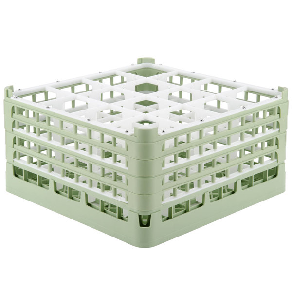"Vollrath 52770 Signature Full-Size Light Green 16-Compartment 9 1/16"" XX-Tall Plus Glass Rack"