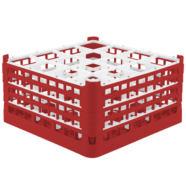 "Vollrath 52770 Signature Full-Size Red 16-Compartment 9 1/16"" XX-Tall Plus Glass Rack"