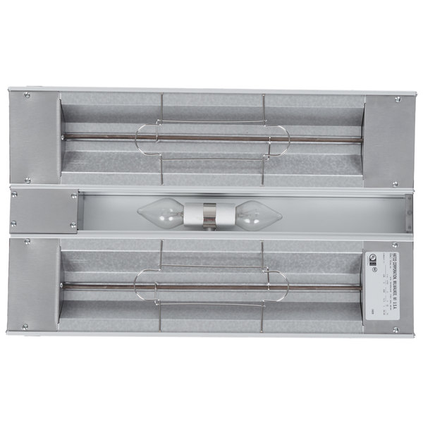"""Hatco GRAHL-24D Glo-Ray 24"""" Aluminum Dual High Wattage Infrared Warmer with 3"""" Spacer and Toggle Controls - 120/208V, 1120W"""