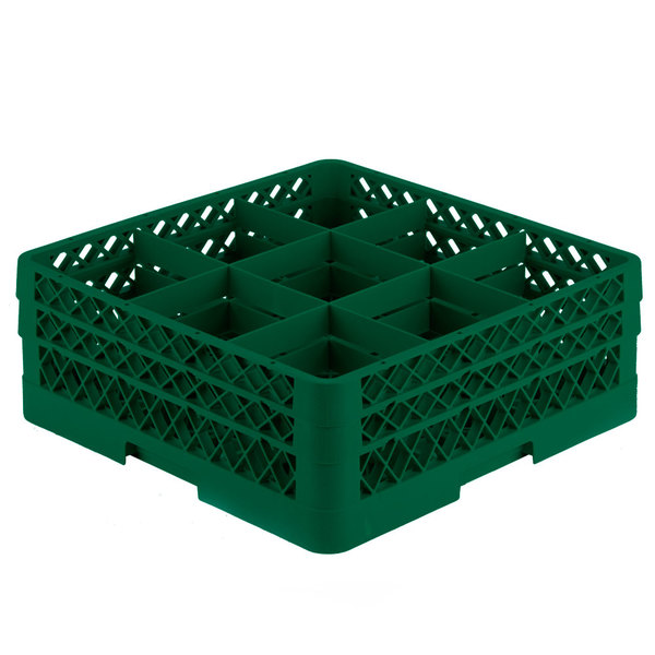 """Vollrath TR10FF Traex® Full-Size Green 9-Compartment 6 3/8"""" Glass Rack"""
