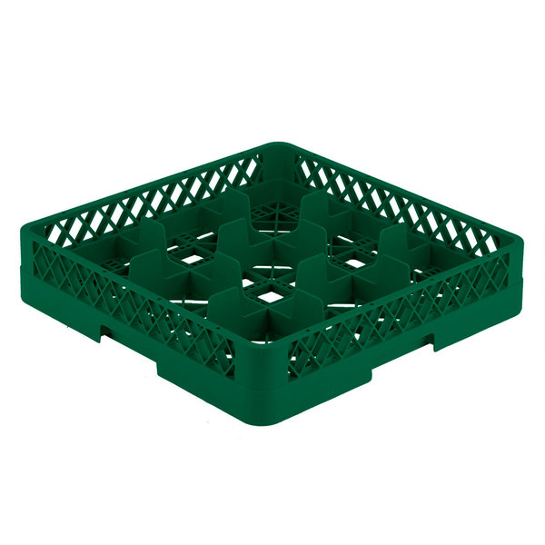 "Vollrath TR10 Traex® Full-Size Green 9-Compartment 3 1/4"" Glass Rack"
