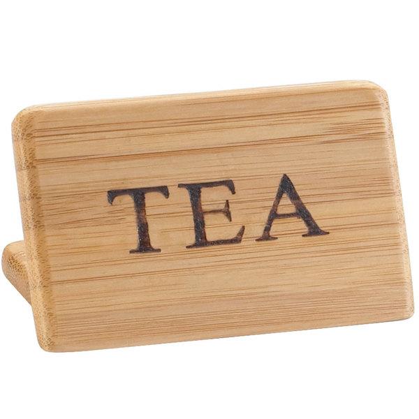 "Cal-Mil 606-4 3"" x 2"" Bamboo ""Tea"" Beverage Sign"
