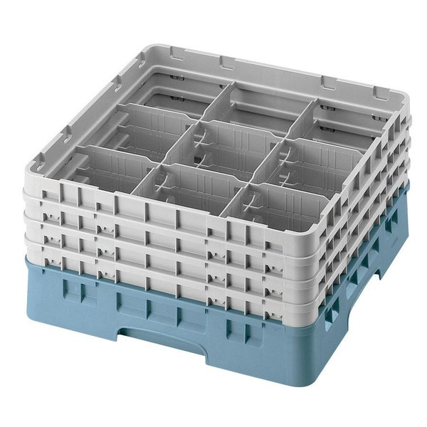 "Cambro 9S434414 Teal Camrack Customizable 9 Compartment 5 1/4"" Glass Rack"