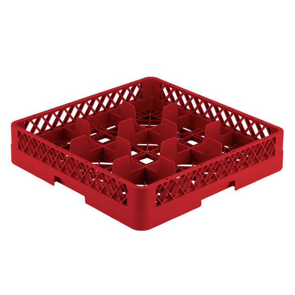 """Vollrath TR10 Traex® Full-Size Red 9-Compartment 3 1/4"""" Glass Rack"""