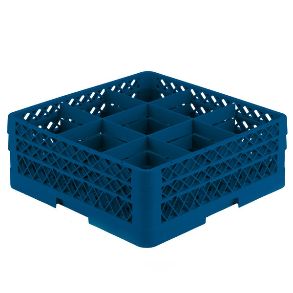 """Vollrath TR10FA Traex® Full-Size Royal Blue 9-Compartment 6 3/8"""" Glass Rack with Open Rack Extender On Top Main Image 1"""