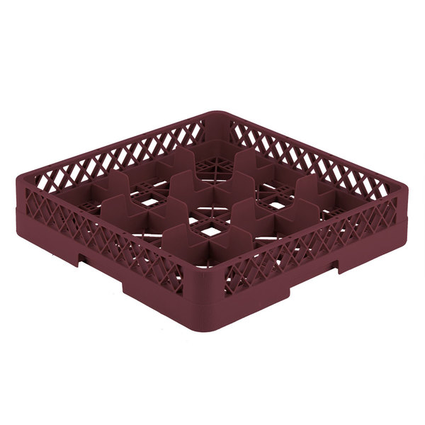 "Vollrath TR10 Traex® Full-Size Burgundy 9-Compartment 3 1/4"" Glass Rack"