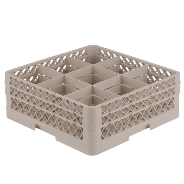 """Vollrath TR10FF Traex® Full-Size Beige 9-Compartment 6 3/8"""" Glass Rack"""