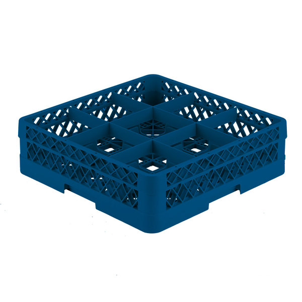 """Vollrath TR10F Traex® Full-Size Royal Blue 9-Compartment 4 13/16"""" Glass Rack"""