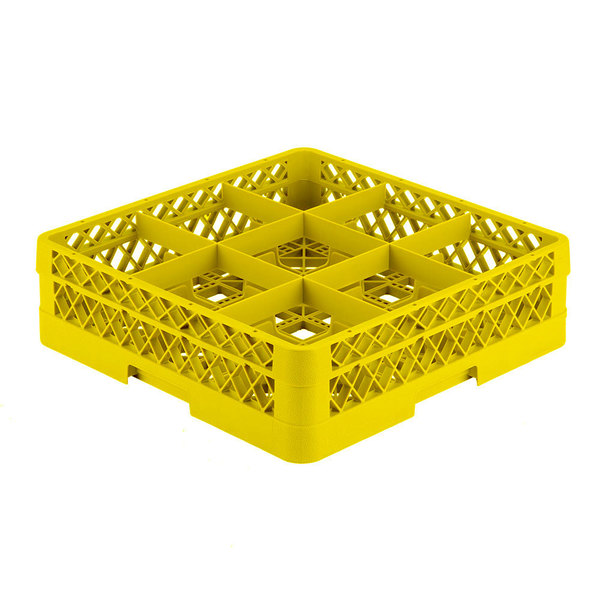 """Vollrath TR10A Traex® Full-Size Yellow 9-Compartment 4 13/16"""" Glass Rack with Open Rack Extender On Top Main Image 1"""