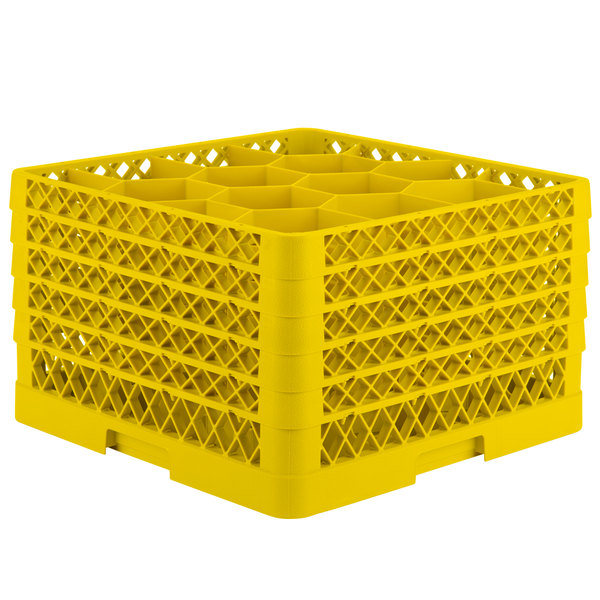 """Vollrath TR18JJJJA Traex® Rack Max Full-Size Yellow 12-Compartment 11"""" Glass Rack with Open Rack Extender On Top"""