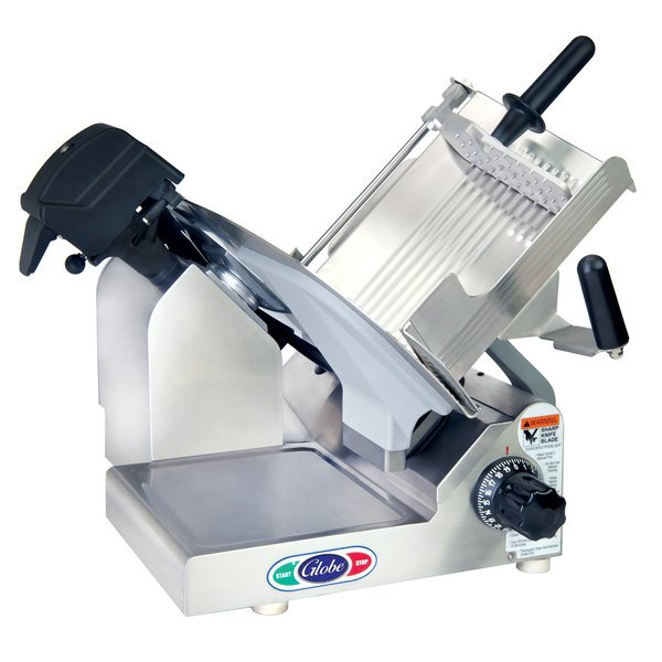 "Globe 3600N-22060 Manual Gravity Feed Meat Slicer with 13"" Carbon Steel Blade and Touch Pad Controls"