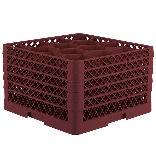 "Vollrath TR18JJJJA Traex® Rack Max Full-Size Burgundy 12-Compartment 11"" Glass Rack with Open Rack Extender On Top"