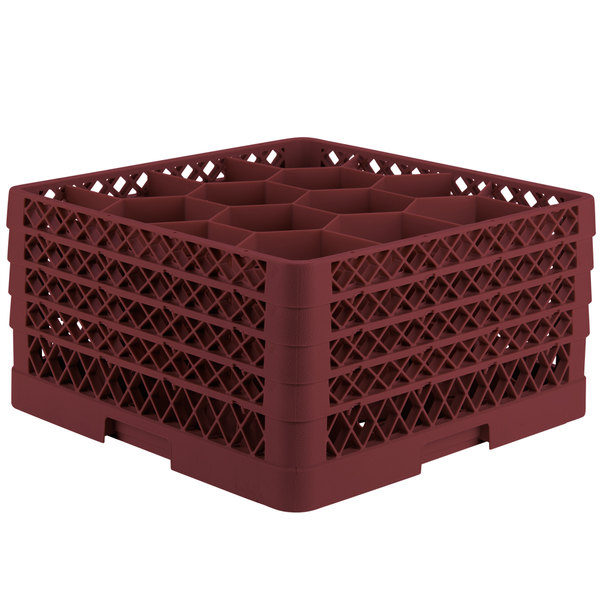 """Vollrath TR18JJJA Traex® Rack Max Full-Size Burgundy 12-Compartment 9 7/16"""" Glass Rack with Open Rack Extender On Top"""