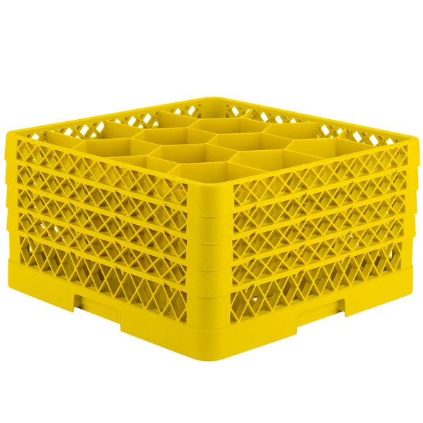 """Vollrath TR18JJJJ Traex® Rack Max Full-Size Yellow 12-Compartment 9 7/16"""" Glass Rack"""