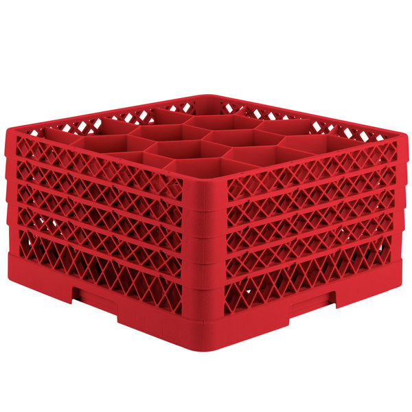 "Vollrath TR18JJJA Traex® Rack Max Full-Size Red 12-Compartment 9 7/16"" Glass Rack with Open Rack Extender On Top"