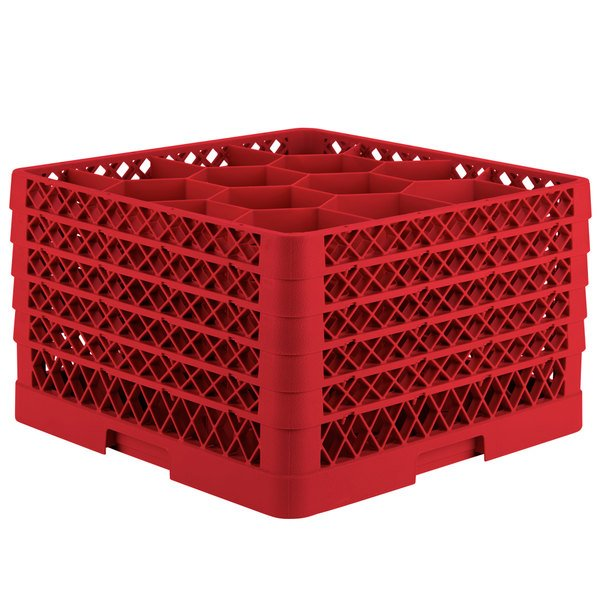 """Vollrath TR18JJJJA Traex® Rack Max Full-Size Red 12-Compartment 11"""" Glass Rack with Open Rack Extender On Top"""