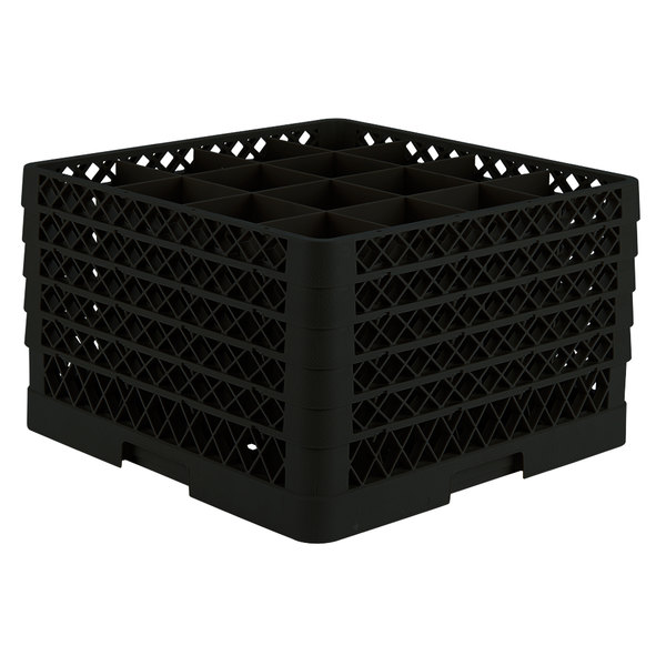 """Vollrath TR8DDDDA Traex® Full-Size Black 16-Compartment 11"""" Glass Rack with Open Rack Extender On Top Main Image 1"""