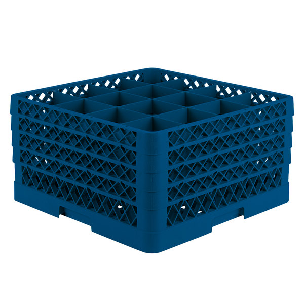"Vollrath TR8DDDA Traex® Full-Size Royal Blue 16-Compartment 9 7/16"" Glass Rack with Open Rack Extender On Top"
