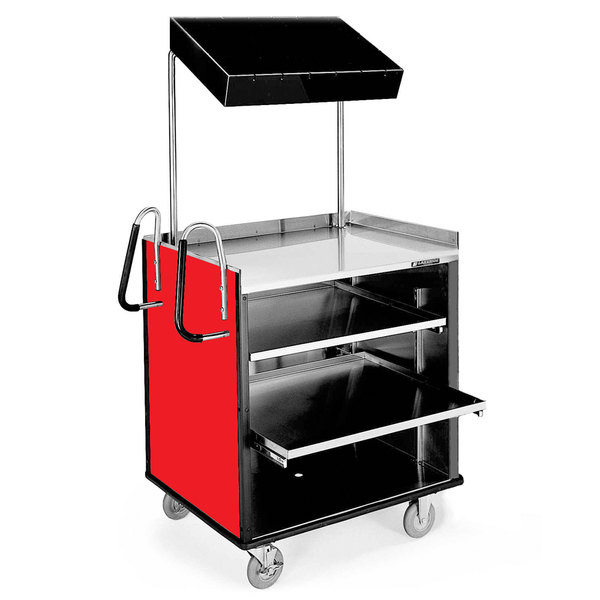 "Lakeside 660 4 Shelf Stainless Steel Compact Vending Cart with Red Laminate Finish - 28 1/4"" x 49"" x 72 1/4"""