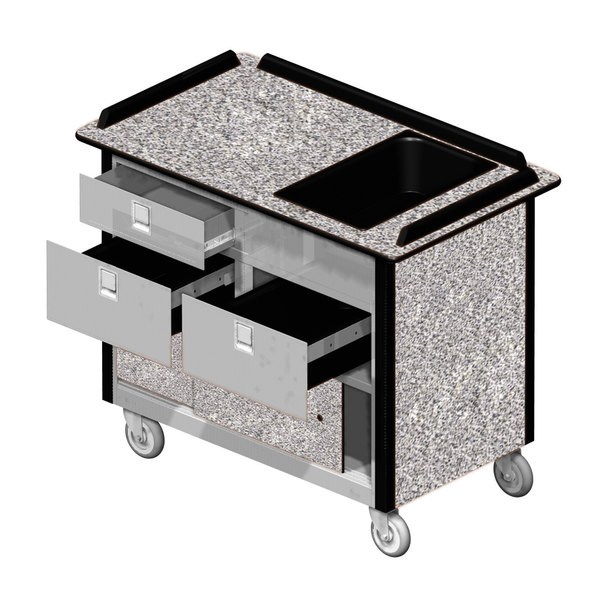 """Lakeside 69030 Stainless Steel Beverage Service Cart with 3 Drawers and Gray Sand Laminate Finish - 26"""" x 44 1/2"""" x 37 3/4"""""""