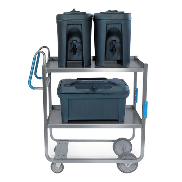 "Lakeside 5920 Stainless Steel Two Shelf Ergo-One System Utility Cart - 41 3/8"" x 21 5/8"" x 46 3/4"""