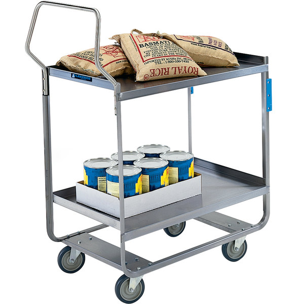 "Lakeside 4510 Handler Series Stainless Steel Two Shelf Heavy Duty Utility Cart - 30"" x 16 1/4"" x 46 1/4"" Main Image 1"