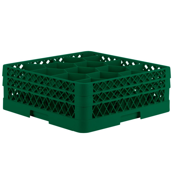 "Vollrath TR18JJ Traex® Rack Max Full-Size Green 12-Compartment 6 3/8"" Glass Rack Main Image 1"