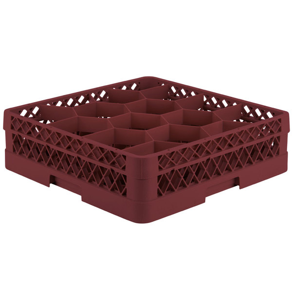 """Vollrath TR18A Traex® Rack Max Full-Size Burgundy 12-Compartment 4 13/16"""" Glass Rack with Open Rack Extender On Top Main Image 1"""