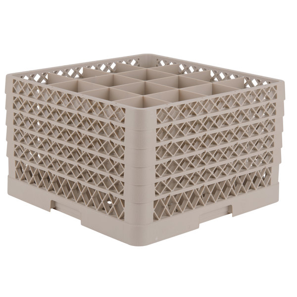 """Vollrath TR8DDDDA Traex® Full-Size Beige 16-Compartment 11"""" Glass Rack with Open Rack Extender On Top"""