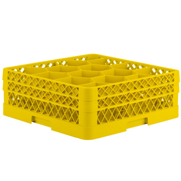 """Vollrath TR18JJ Traex® Rack Max Full-Size Yellow 12-Compartment 6 3/8"""" Glass Rack Main Image 1"""