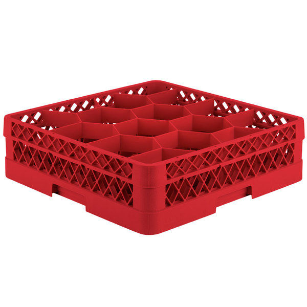 """Vollrath TR18A Traex® Rack Max Full-Size Red 12-Compartment 4 13/16"""" Glass Rack with Open Rack Extender On Top"""