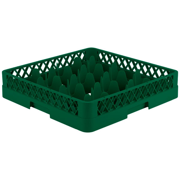 "Vollrath TR18 Traex® Rack Max Full-Size Green 12-Compartment 3 1/4"" Glass Rack Main Image 1"