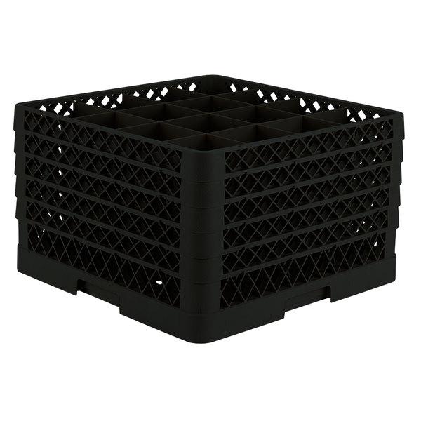 "Vollrath TR8DDDDD Traex® Full-Size Black 16-Compartment 11"" Glass Rack"