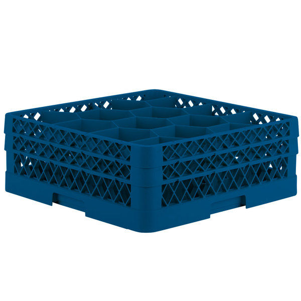 "Vollrath TR18JJ Traex Rack Max Full-Size Royal Blue 12-Compartment 6 3/8"" Glass Rack"