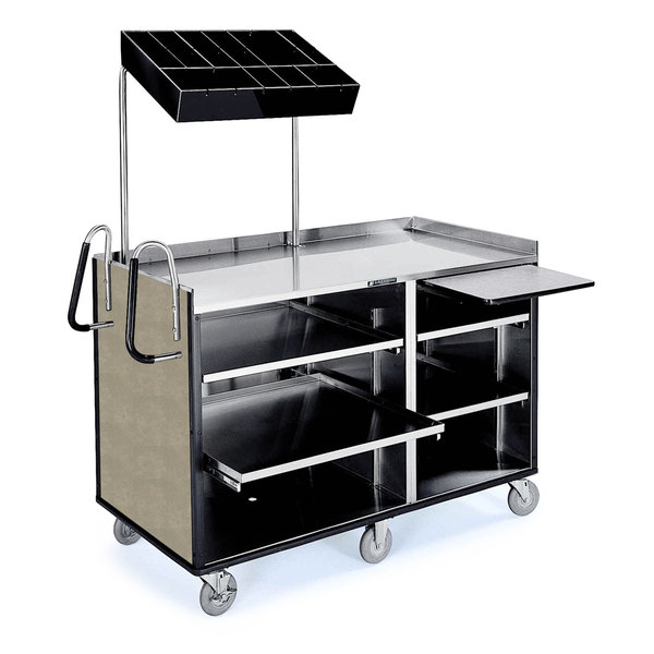 """Lakeside 68010 4 Shelf Stainless Steel Vending Cart with Pull-Out Shelves and Beige Suede Laminate Finish - 27 1/2"""" x 60"""" x 70"""""""