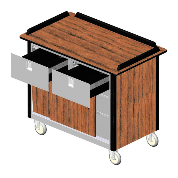 """Lakeside 69040VC Stainless Steel Beverage Service Cart with 2 Drawers and Victorian Cherry Laminate Finish - 26"""" x 44 1/2"""" x 37 3/4"""""""