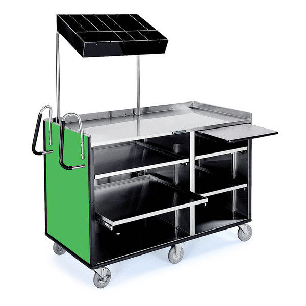 "Lakeside 68010 4 Shelf Stainless Steel Vending Cart with Pull-Out Shelves and Green Laminate Finish - 27 1/2"" x 60"" x 70"""