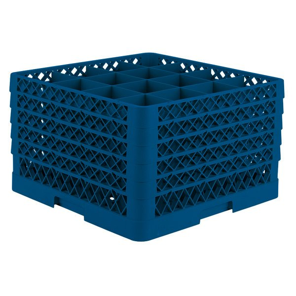 "Vollrath TR8DDDDA Traex® Full-Size Royal Blue 16-Compartment 11"" Glass Rack with Open Rack Extender On Top"