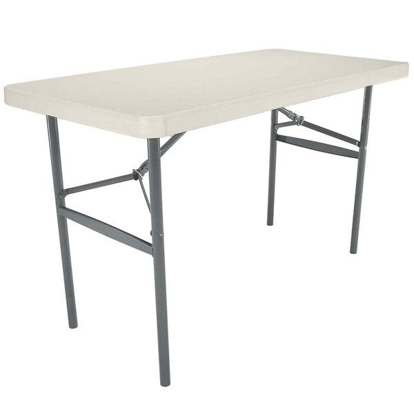 "Lifetime Folding Table, 24"" x 48"" Plastic, Almond - 22959"